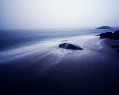 (parade in the sky) Tags: ocean longexposure sea mist motion nature water rock fog sand waves natural nj surreal peaceful atmosphere zen swoosh