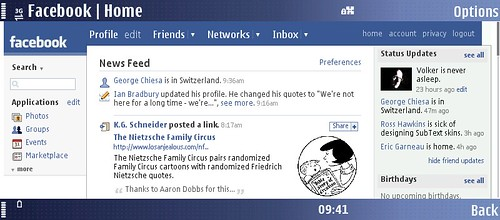 Facebook on Nokia E90
