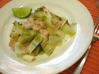 Baked salmon and witlof (endive)