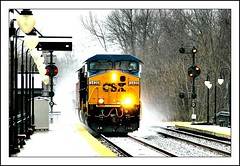 Q174 Kicks up Spindrift (Images by A.J.) Tags: railroad winter light snow color train md maryland rail railway trains signals transportation signal freight position cpl csx dorsey  intermodal  csxt