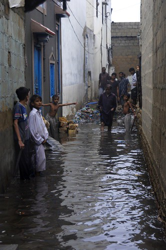 A street in Machar Colony, following the August storms over Karachi.