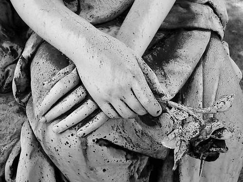 Detail: Woodlawn Cemetery, Bronze Memorial (Black and White)--Detroit MI