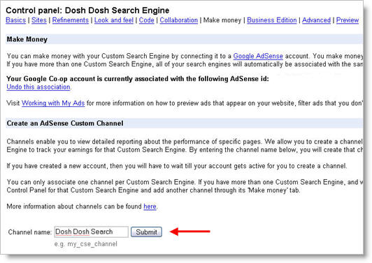 Google Custom Search Control Panel Money