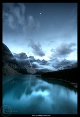 By a sleepless night under a tiny Moon (Arnold Pouteau's) Tags: longexposure canada night rockymountains banffnationalpark naturesfinest lakemoraine flickrdiamond arnoldpouteau fland10