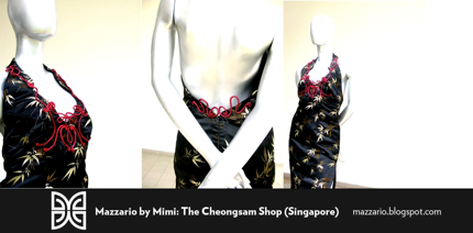 mystic black open collar cheongsam