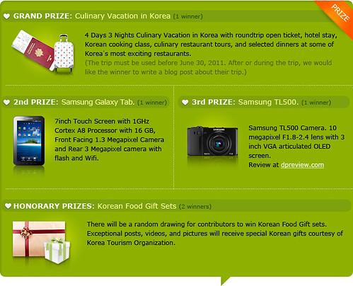 Prizes Koreataste contest