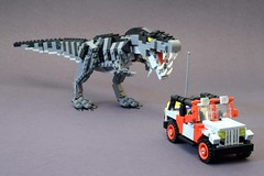New Feet and jeep (psiaki) Tags: park lego dinosaur jeep rex jurassic trex tyrannosaurus moc
