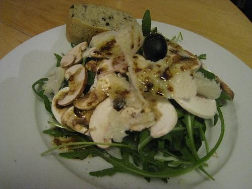salade roquette champignons