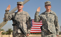 Married in the military: Couple shares experience of being married Soldiers deployed together [Image 1 of 3] (DVIDSHUB) Tags: california soldier army married flag military iraq alabama baghdad