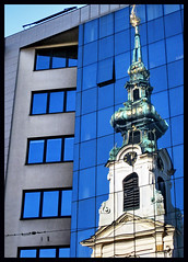 old/new (2) (klaus53) Tags: vienna wien new old blue reflection austria stiftskirche mariahilferstrasse mywinners