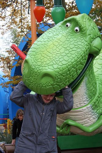 Rex is eating Sam's head!