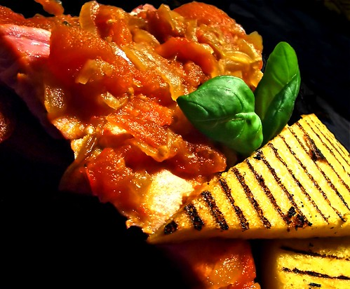 Tuna alla Siciliana with Grilled saffron polenta wedges