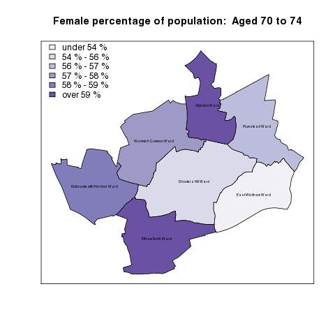 Female percentage of population:  Aged 70 to 74
