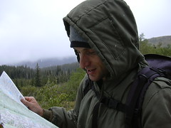 checking the map on Caribou Ridge