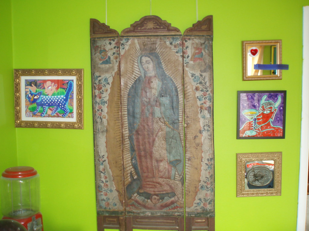 CHEZ ADDA dining room VIRGIN OF GUADALUPE-mexico devotional screen 1880's