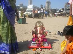 DSCN4523 (spookyh) Tags: beach god ganesh mumbai visarjan ganpati