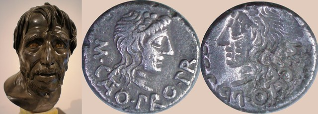 462/2 brockage coin of Cato Uticences, pro-Praetor and Stoic philosopher who led Pompeian forces to defeat at Utica 46BC, with bust of Seneca, Stoic philospher in reign of Nero