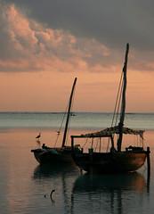 stand (Blue Spirit - heart took control) Tags: sea reflection clouds sunrise nuvole mare alba barche zanzibar riflesso nungwi
