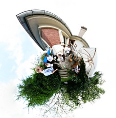 Garden party (Man) Tags: people panorama house france 360 full explore handheld 360x180 spherical planetoid hugin enblend interestingness500 i500 littleplanet manuperez planetoids