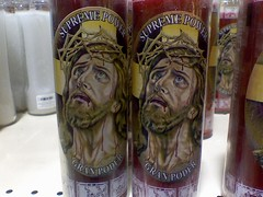 twinsies: twice the jesus, twice the strife (Jannygirl) Tags: twins candles phone jesus cell wegmans courtesy supreme strife jannys granpoder supremepower
