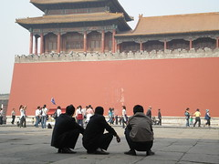The Really Forbidden City (Linda^) Tags: china red men wall three beijing tourists   forbiddencity