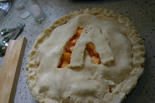 peach pie marked with an A