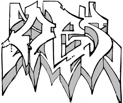 six style digital 3d graffiti letters. Considered simply as a visual object,