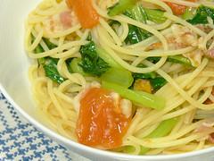 小松菜とトマトとパンチェッタのスパゲティ