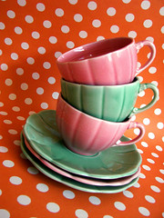Tea Party (Sofia Katariina) Tags: pink orange green coffee tea alice vivid polkadots cups teacups wonderland teaparty project365 colourartaward artlegacy