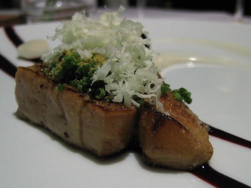 Roast foie gras, almond fluid gel, cherry and chamomile