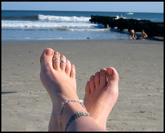 At Summer's End (blonde_sage) Tags: feet beach tattoo newjersey dof bokeh barefeet oceancity anklet toerings futab