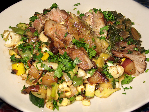Braised Pork Shoulder and Farmer's Market Vegetable Hash with Sauteed Rainbow Swiss Chard