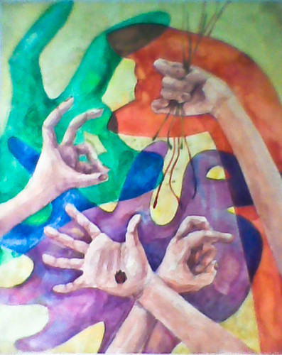Hands, 2000, Watercolor on paper