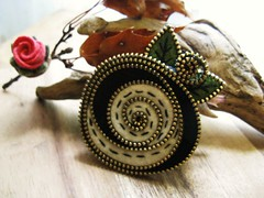 Black and white (woolly  fabulous) Tags: black green wool rose pin brooch felt button zipper mackintosh ebroidered rccled