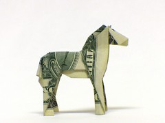 $ Przewalski's Horse (the real juston) Tags: horse money painting paper bill origami dollar cave fold trojan prehistoric papiroflexia lascaux folding draft altamira draught billfold juston dray  przewalskis niaux chauvet billfolding orikane merychippus pliohippus cuevadelapasiega