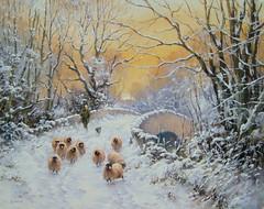 Over The Bridge, Cumbria (Joe Hush) Tags: trees nature sheep englishcountryside snowscene winterscene landscapepainting originalpaitning englandlandscapepaintingoriginalpaitningsnowscenewinterscenenaturetreessheepenglishcountryside