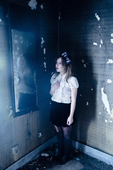 (yyellowbird) Tags: house cold reflection abandoned girl fog fire mirror illinois cari leafriver