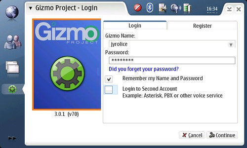 Gizmo Project и Sipnet.ru на Nokia N800