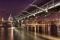 Angels Don't Need Bridges (TheFella) Tags: city uk longexposure greatbritain bridge blue england urban orange slr london water yellow thames angel night digital photoshop plane canon reflections river dark landscape eos gold lights photo high dock lowlight europe cityscape darkness purple dynamic riverside cathedral footbridge unitedkingdom steel capital stpauls landmarks landmark millenniumbridge nighttime photograph angels processing slowshutter gb lighttrails dslr range suspensionbridge hdr highdynamicrange southwark wobblybridge bankside cityoflondon urbanlandscape postprocessing unitedkingdon 500d londonlandmarks squaremile photomatix londonmillenniumfootbridge hdrs londonmillenniumbridge millenniumbridgelondon thefella conormacneill