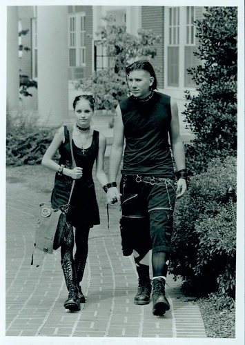 Student Couple Walking on Campus