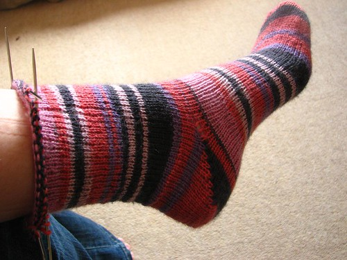Self-striping sock