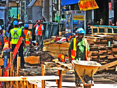 Fulton Street Construction HDR Fake () Tags: nyc newyorkcity photoshop construction fake haha alteration gotcha hdr 1000 onethousand phoney 1000views whistleblower itsmulticolored thebiggestgroup 10millionphotos isntitgrand agrand