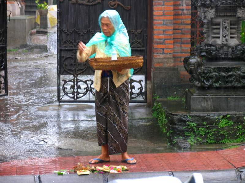 Balinese woman setting out cadang sari offerings in rain