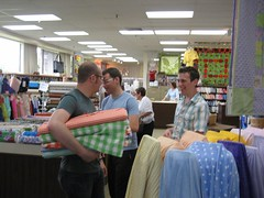 the family goes fabric shopping