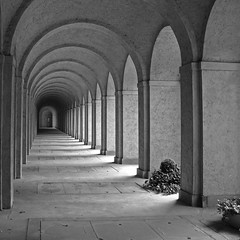 Infinite Rest (shutterBRI) Tags: travel bw monochrome cemetery canon germany photography photo vanishingpoint frankfurt perspective arches powershot graves burial distance 2007 hesse a630 shutterbri hauptfriedhof selectedasthebest spselection challengeyouwinner brianutesch flickrchallengegroup flickrchallengewinner photofaceoffwinner photofaceoffplatinum pfogold brianuteschphotography