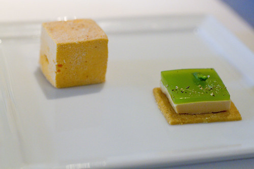 carrot marshmallow and foie cracker