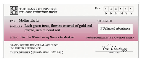 free abundance check or cheque for Mother Earth