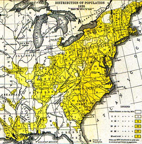 From Semple's American History and Its Geographic Conditions(1903). The map shows the influence on westward population movements of rivers, lakes, national roads, swamps, Native American land and fertile soil areas.