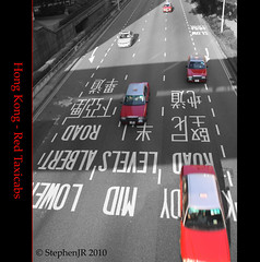 Hong Kong Taxicabs (StephenJR) Tags: china road red blackandwhite bw hk island hongkong asia taxi midlevels taxicabs 2010 pub1 cottontree loweralbert stephenjr