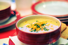 (Emma) Tags: red food yellow cheese soup 50mm focus bokeh broccoli biscuit plates resturant fridays tgi tonesyummy